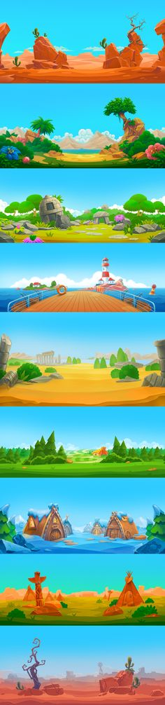 Cartoon Background, Game Background, Animation Background, Game Environment, Environment Concept Art, Environment Design, 2d Game Art, Video Game Art, Wave Illustration