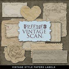 Freebies Vintage Style Papers Labels  Kit