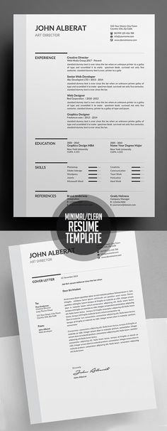 Clean Resume/CV Template Design #minimalresume #psdresume #resumetemplates #clean #minimal #job #word