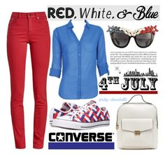 """""""Red, White and Blue Fashion: 30/06/16"""" by pinky-chocolatte ❤ liked on Polyvore featuring Barbour, Converse and Anna-Karin Karlsson"""