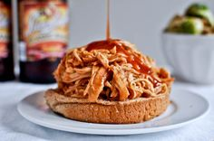 crockpot bbq beer chicken at how sweet it is. best shredded chicken recipe!