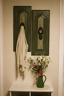 Antiqued wooden wall hangings available at aubshomedecor.blogspot.com