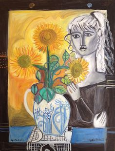Lydia Corbett Sylvette and the Sunflowers Pablo Picasso Drawings, Birds In The Sky, Moving To England, Moon Dance, Tate Gallery, The Pussycat, Watercolor Cat, Gold Ink, Beautiful Paintings