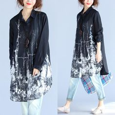Loose Linen Women Printing Shirt Dress
