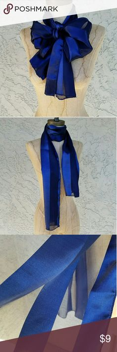 Blue Silky Satin & Chiffon Striped Scarf Elegant striped chiffon and satin scarf. ?Can be worn around your neck, waist, or hair as well as on a hat or handbag, etc. Excellent condition. No holes or stains. Measures 61 inches long x 12 inches wide Made of 100% Polyester Accessories Scarves & Wraps
