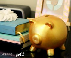 spray painted piggy bank - i should do this to Cora's