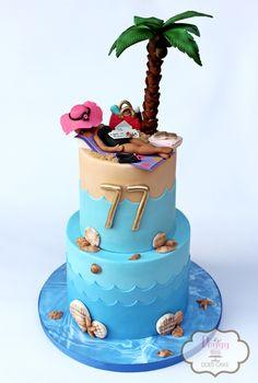 Beach themed cake!  #palmtreecake #beachcake #seacake #oceancake #relaxingcake #getawaycake #seaandsandcake #wavescake #watercake #vacationcake #sunbathingcake #sunbathercake #peggydoescake