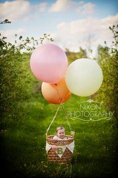 "Second Birthday | Balloons | Photo Props | Kids Fashion | Dayton Ohio Baby Photographer | Nixon Photography | Hot Air Balloon | 40"" Balloons | Orchard"
