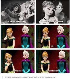 Aww - frozen : I didn't think of this... but it even foreshadows the ending by saying that true love isn't always romantic.