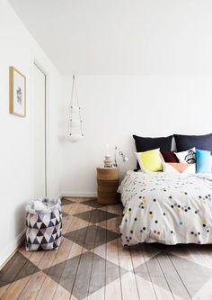 Love the painted wood floor!!