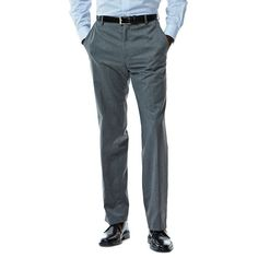 Men's Haggar® Straight-Fit Flat-Front Suit Pants, Size: 32X30, Dark Grey