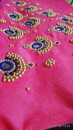 Fashion Work Dress Neckline 39 Ideas For 2020 Simple Blouse Designs, Stylish Blouse Design, Fancy Blouse Designs, Dress Neck Designs, Hand Embroidery Dress, Embroidery Neck Designs, Beaded Embroidery, Kerala Saree Blouse Designs, Mirror Work Blouse Design