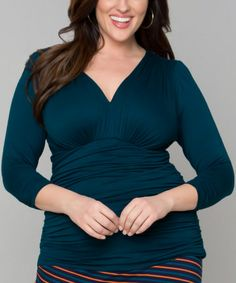 Look what I found on #zulily! Teal Ruched Sadie Surplice Top - Plus by KIYONNA #zulilyfinds