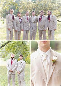 tan and red groomsmen looks #groomsmen #fallwedding #weddingchicks http://www.weddingchicks.com/2014/02/07/red-and-orange-fall-wedding/