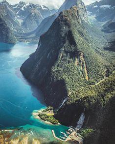 "New Zealand (@purenewzealand) on Instagram: ""Over the top. #NZMustDo [Milford Sound, Fiordland. : @overthetophelicopters] #Travel #NewZealand…"""