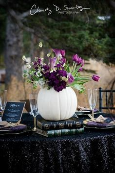 Use white pumpkins, gold skulls, and black sequins for a chic look.   18 Wedding Ideas For People Who Are Obsessed With Halloween