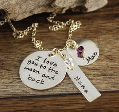 Personalized Love You to the Moon and Back Necklace, Hand Stamped Mommy Necklace, Personalized Mommy Jewelry, Keepsake Necklace by AnnieReh on Etsy Mommy Necklace, Mommy Jewelry, Back Necklace, Dog Tag Necklace, Hand Stamped Jewelry, Love You, My Love, Gold Filled Chain, Birthstones