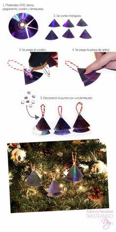 http://trasteandodiy.blogspot.com.es/2013/12/diy-adornos-de-navidad-reciclando-cds.html  . . . . . . .  Mas fotos e instrucciones en la URL.