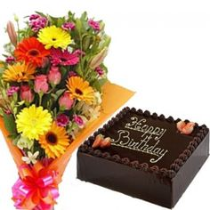 Square Cake With Mixed Flower Bunch For Mumbai Delivery Free And Fast Home To