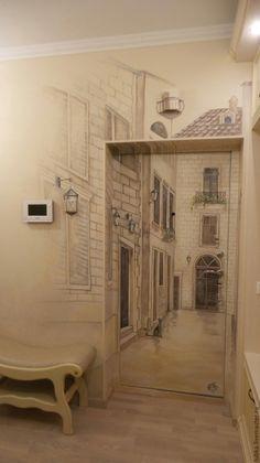 Купить Декор двери  улочка 3d - комбинированный, роспись двердекор двери, декорирование двери