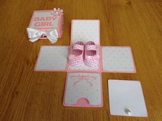 Baby Girl Exploding Box Card- New Baby Card - Congratulation Card on Etsy, $9.90