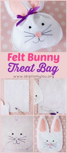How to make a felt bunny treat bag. An easy craft to do with kids for Easter. #easter #craft #kidscraft