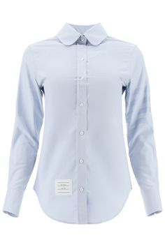 $490.79. THOM BROWNE Top Thom Browne 4-Bar Cotton Shirt #thombrowne #top #shirt #cotton #clothing Thom Browne Shirt, Mother Of Pearl Buttons, Round Collar, Light Blue, Stripes, Shirt Dress, Clothes For Women, Sleeves, Model