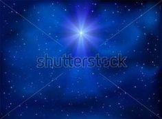 Svítící vánoční hvězda na noční obloze, ilustrace.