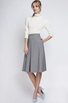 Perfect gift for elegant ones. Casual grey Midi Skirt / CHEERFUL CHECK – a unique product by Lanti_Official via en.DaWanda.com