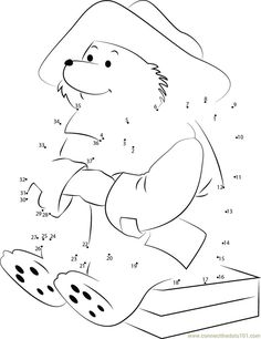 Connect the dots Handsome Paddington Bear worksheet, Dot to dots page