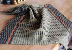 cotton linen towel in black and sage