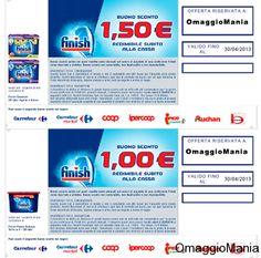 Buoni sconto da stampare sui prodotti della gamma Finish.  Carnet di coupon per un valore di 10 euro.  Link: http://www.omaggiomania.com/buoni-sconto/buoni-sconto-da-stampare-finish-carnet-da-10-euro/
