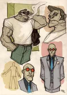 This is a series of sketches from Italian artist Denis Medri of Batman characters reimagined as rockabilly ones from the 1950's