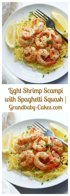 Light Shrimp Scampi with Spaghetti Squash | Grandbaby-Cakes.com