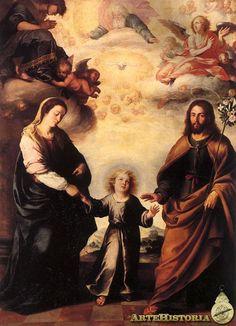 The Return of the Holy Family from Egypt (Bartolomé Esteban Murillo) - Nationalmuseum - 21281 Caravaggio, Rembrandt, Canvas Paper, Oil On Canvas, Canvas Art, Feast Of St Joseph, Saint Joseph, Trinidad, Esteban Murillo