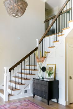 Looking for Other Space and Foyer ideas? Browse Other Space and Foyer images for decor, layout, furniture, and storage inspiration from HGTV. Design Entrée, House Design, Design Ideas, Stair Design, Foyer Design, Rustic Design, Design Inspiration, Woodside Homes, Foyer Furniture
