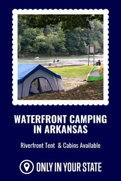 Enjoy waterfront camping in Arkansas on the beautiful Spring Lake and river. Choose from tent sites, campers, furnished cabins, and more with great views. This is the perfect destination for family fun. Arkansas Camping, Riverside Resort, Stay Overnight, Spring Lake, Great View, Campsite, Campers, Cabins, Kayaking