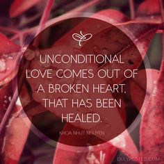 Photo of red leaves with water droplets and quote by Khoa Nhut Nguyen #unconditionallove #brokenheart #healing
