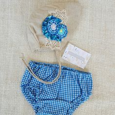 Brand new in stock. Unique little girls bonnet & bloomers set.