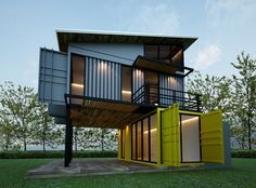 Elegant Container House   Blue Yellow Shipping House   Who Else Wants Simple  Step By Step Plans To Design And Build A Container Home From Scratch?