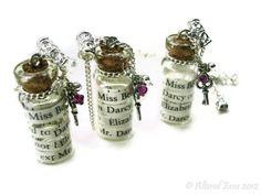 Pride n Prejudice Darcy Jane Austen Necklace by AlteredEras, Bottle Jewelry, Bottle Charms, Bottle Necklace, Glass Bottles With Corks, Mini Bottles, Miniature Bottles, Handmade Market, Cork Stoppers, Pride And Prejudice