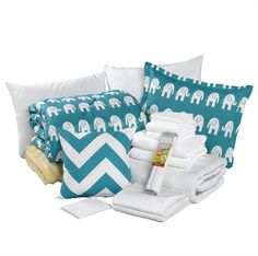 Turquoise Elephant Dorm Bundle. Everything you need to move to you dorm. Includes comforter with matching sham, pillows, sheets, pillow case, towels, foam topper and a moveable memo board. Tons of styles available at www.amdorm.com
