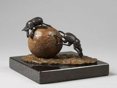 #Bronze #sculpture by #sculptor Camilla Le May titled: 'Dung Beetles (African Insects Scarabs statuettes)'. #CamillaLeMay