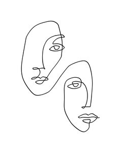 One Line Art Faces Sketch Art Print by TheRedFinchPrint - X-Small sketches aesthetic wallpaper Face Line Drawing, Face Sketch, Contour Drawing, Human Drawing, Drawing Faces, Line Art Design, Minimalist Drawing, Minimalist Art, Art Drawings Sketches