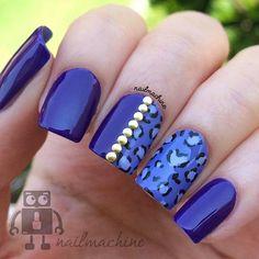 Stylish Blue Leopard Nail Art #nails #nailart  #womentriangle