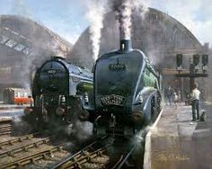 """""""Masterful painting by Philip D Hawkins of 2 East Coast Greyhounds 60131 Osprey and 60015 Quicksilver. Steam Art, Heritage Railway, Nostalgic Art, Steam Railway, Train Art, Old Trains, Steampunk, Train Pictures, Train Engines"""