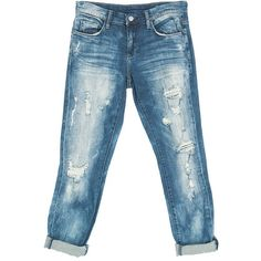 Sans Souci Blank nyc ripped boyfriend jeans ($98) ❤ liked on Polyvore featuring jeans, pants, denim, distressed jeans, torn boyfriend jeans, destroyed boyfriend jeans, light wash boyfriend jeans and blue jeans