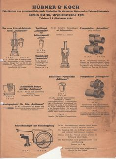 Reklame Blatt Hübner & Koch Berlin Fahrrad Zubehör um 1930