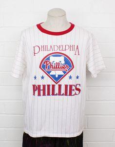 35c52a3b Vintage 1980s Philadelphia Phillies Baseball Pinstripe Ringer Tee Size  Large 80s T-Shirt