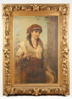 Hungarian Gypsy Girl, Signed 19th C. Oil, Brentano